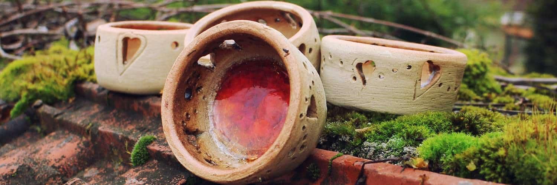 Keramické misky dočervena